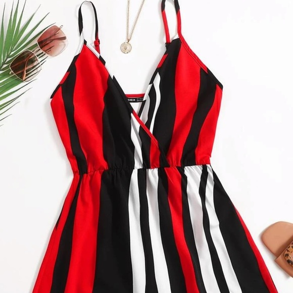 SHEIN colorblock striped cami romper NWT